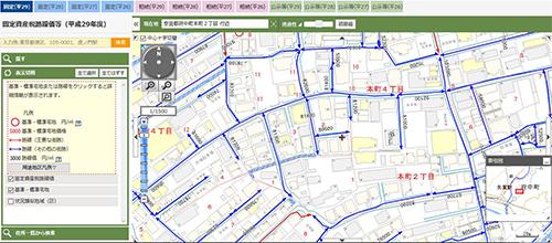 該当の地域が地図で表示され、道路上に固定資産税路線価が青い線で引かれています。