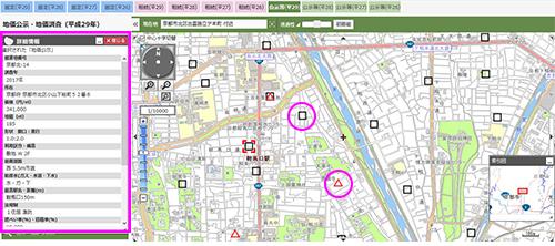 地価公示が黒の□、都道府県地価調査が赤の△で地図に表示されるので、それらをクリックすると左側に所在や1㎡あたりの価格など、詳細が出てきます。