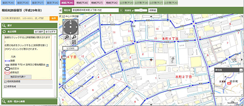 該当の地域が地図で表示され、道路上に相続税路線価が青い線で引かれています。