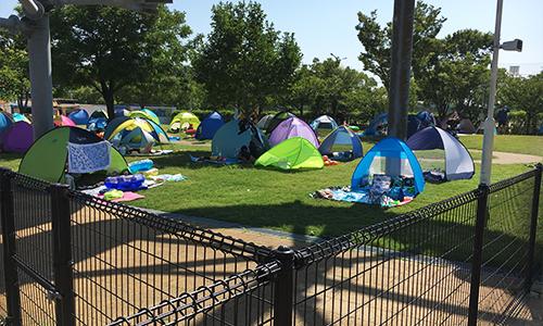 遮光テント・サンシェード広場がある
