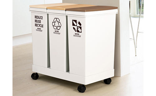 アスベル 資源ゴミ横型3分別ワゴン