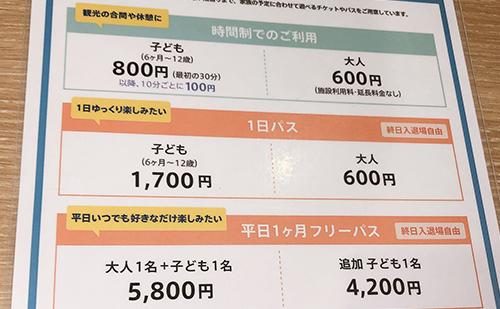 ボーネルンドプレイヴィル大阪城公園は有料